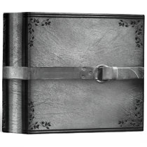 Faux Leather & Belt Silver Gray Binder