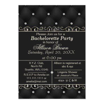 FAUX leather black bachelorette party invite