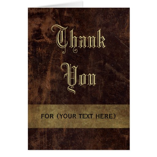 Faux Leather Brown/Gold Executive Thank You Custom Greeting Card