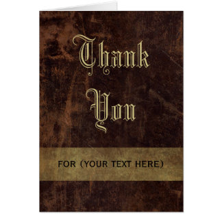 Faux Leather Brown/Gold Executive Thank You Custom Stationery Note Card