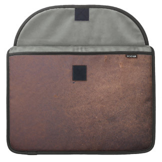 Faux leather, brown with some marks and scratches sleeve for MacBooks