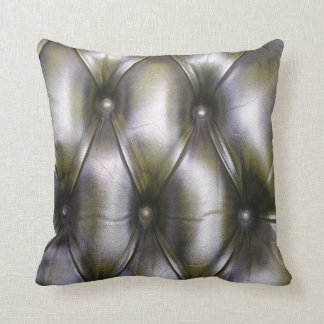 Faux leather chesterfield dark green throw pillow