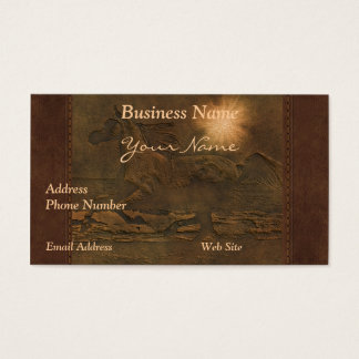 Faux Leather Horse Portrait on Leather-look Card