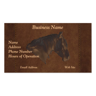 Faux Leather Horse Protrait on Leather-look BG Business Card