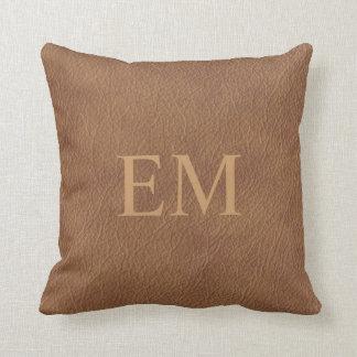 Faux Leather Monogram Throw Pillow