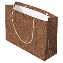 Faux Leather Natural Brown Large Gift Bag