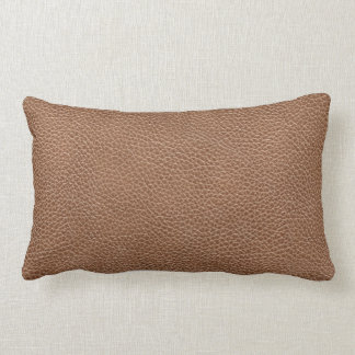 Faux Leather Natural Brown Lumbar Pillow