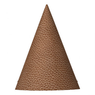 Faux Leather Natural Brown Party Hat