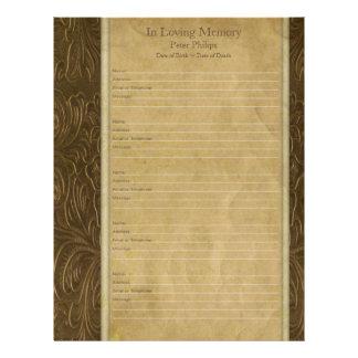 Faux leather parchment Memorial book Filler page Letterhead
