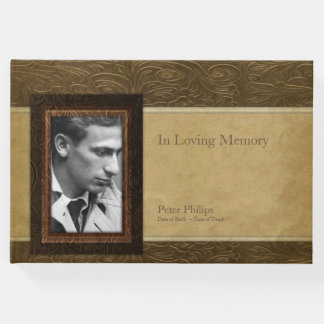 Faux leather parchment Photo Memorial Guest Book