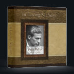 """Faux leather parchment Photo Memorial Guest Book 3 Ring Binder<br><div class=""""desc"""">Elegant faux leather and parchment background for this memorial or funeral guest book (binder) with photo frame. You can easily change image and text (font, color, size and position) by clicking the personalize or customize button. Matching Memorial books filler pages, Memorial guest book (hard cover), Memorial service invitation, Sympathy Thank...</div>"""