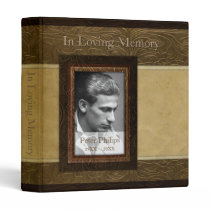 Faux leather parchment Photo Memorial Guest Book 3 Ring Binder