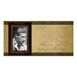 Faux leather parchment Photo Sympathy Thank You Card