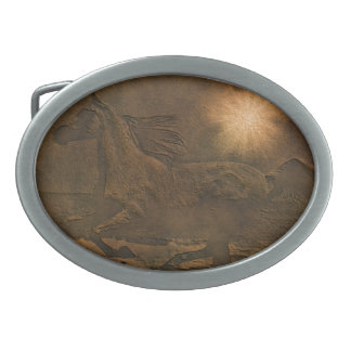 Faux Leather Running Horses Ranch Gift Oval Belt Buckle
