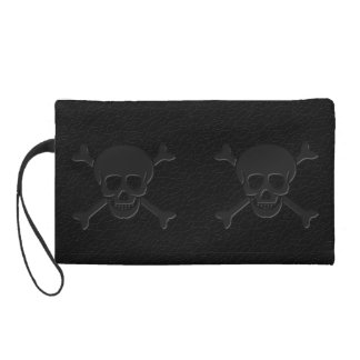 Faux Leather Skull and Crossbones Wristlet