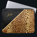 """Faux Leopard Black &amp; Gold Laptop Sleeves<br><div class=""""desc"""">(Original KLN Design) Beautiful Classic Elegance – Ladies Leopard Pattern with Black, Brown and Gold Color Accents. This 13"""" Laptop Computer Sleeve is the perfect protection for your Laptop Computer that is as beautiful as it is useful. Personalize with your own name or monogram. Treat yourself with this wonderful gift,...</div>"""
