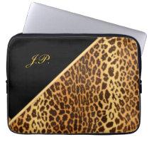 Faux Leopard Black & Gold Laptop Sleeves