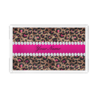 Faux Leopard Hot Pink Rose Gold Foil and Diamonds Acrylic Tray