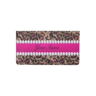 Faux Leopard Hot Pink Rose Gold Foil and Diamonds Checkbook Cover
