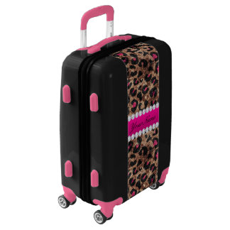Faux Leopard Hot Pink Rose Gold Foil and Diamonds Luggage