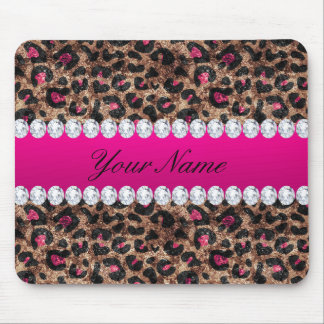 Faux Leopard Hot Pink Rose Gold Foil and Diamonds Mouse Pad