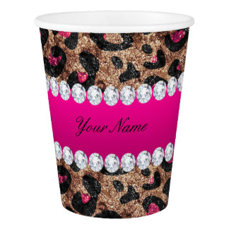 Faux Leopard Hot Pink Rose Gold Foil and Diamonds Paper Cup