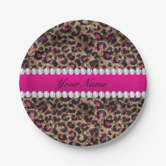 Faux Leopard Hot Pink Rose Gold Foil and Diamonds Paper Plate