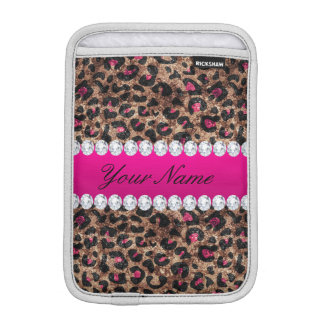 Faux Leopard Hot Pink Rose Gold Foil and Diamonds Sleeve For iPad Mini