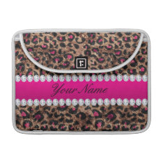 Faux Leopard Hot Pink Rose Gold Foil And Diamonds Sleeve For Macbook Pro at Zazzle