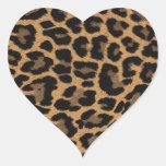 faux leopard print heart sticker