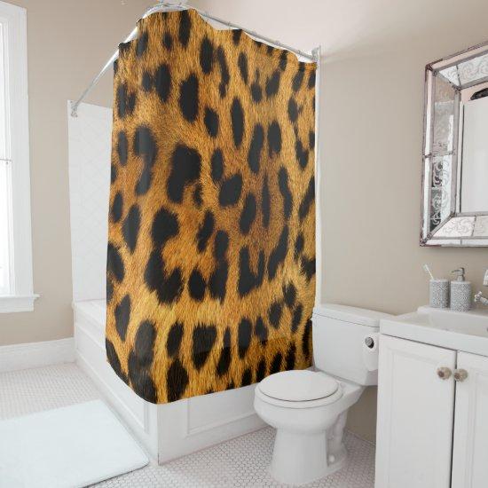 Faux Leopard Skin Shower Curtain