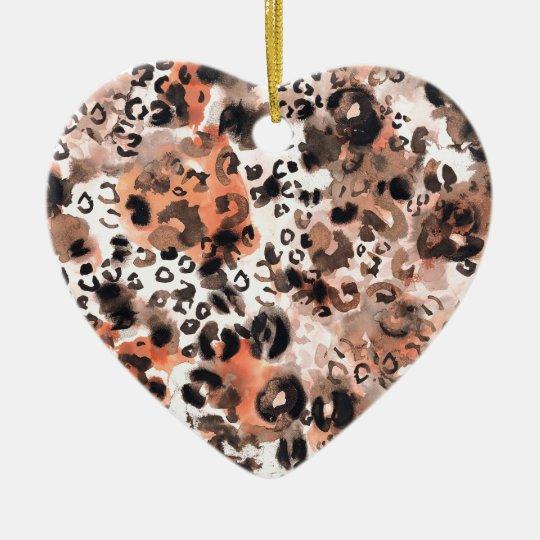 Faux Leopard Watercolour Ceramic Ornament