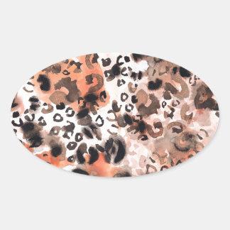 Faux Leopard Watercolour Oval Sticker