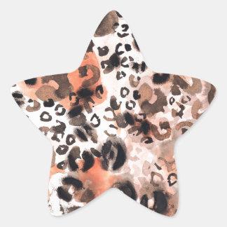Faux Leopard Watercolour Star Sticker