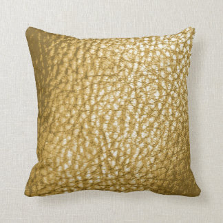 Faux Light Gold Metalic Leather Print-Solid Throw Pillow