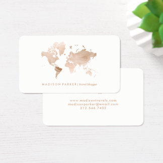Faux Light Gold World Map on White Business Card