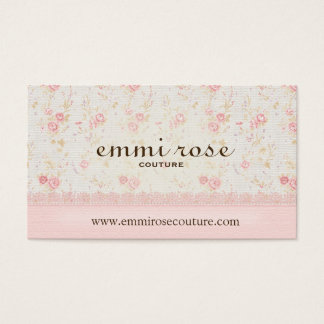 Faux Linen and Lace Dainty Rose Business Card