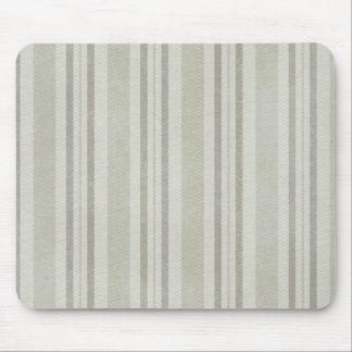 Faux Linen Beige Olive Gray Striped Mousepad