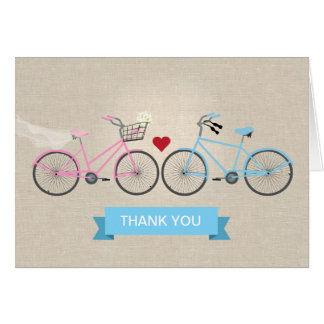 Faux Linen Bicycles Wedding Thank You Stationery Note Card