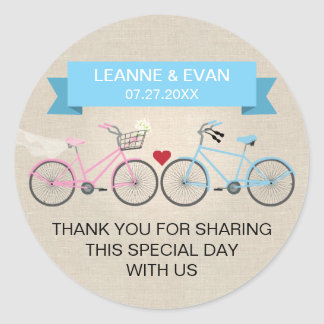 Faux Linen Blue Bicycle Wedding Classic Round Sticker