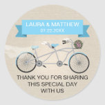 Faux Linen Blue Tandem Bicycle Wedding Round Stickers