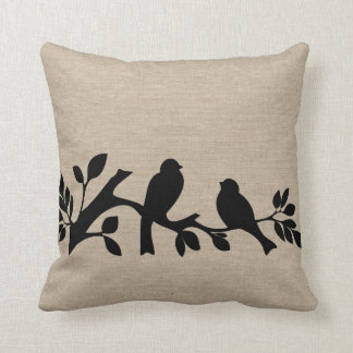 Faux linen burlap rustic chic jute love birds patt throw pillow