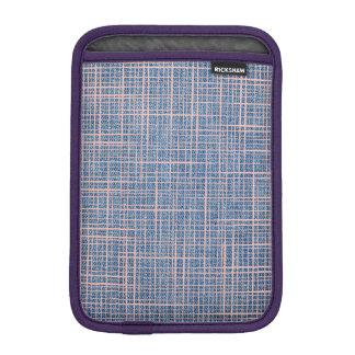 Faux Linen canvas Denim checkers iPad Mini Sleeve