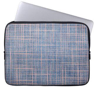 Faux Linen canvas Denim checkers Laptop Sleeve
