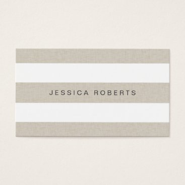 Beach Themed Faux Linen Classic Stripes Pattern Modern Business Card