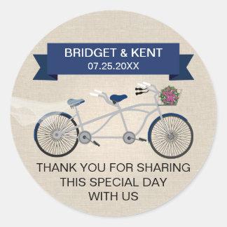 Faux Linen Dark Blue Tandem Bicycle Wedding Classic Round Sticker