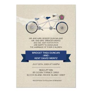 Faux Linen Dark Blue Tandem Bicycle Wedding Invite