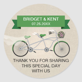 Faux Linen Green Tandem Bicycle Wedding Classic Round Sticker