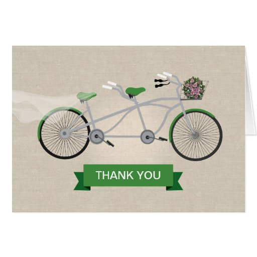 Faux Linen Green Tandem Bicycle Wedding Thank You Greeting Cards