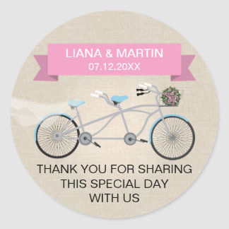 Faux Linen Pink Tandem Bicycle Wedding Classic Round Sticker